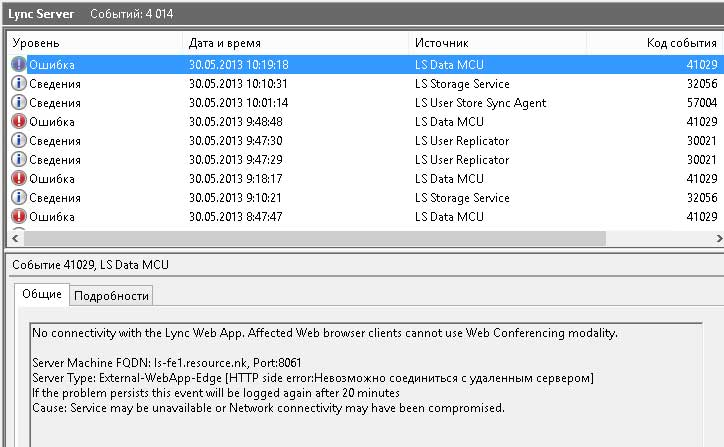 Ошибки доступа к Web сервисам Lync Front End